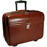 Embassy Genuine Briefcase (Genuine Leather Rolling Briefcase Leather Wheeled Carry on Leather Luggage Laptop Bag, Brown)