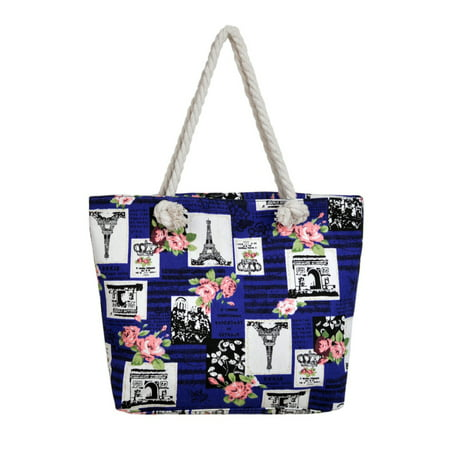 Paris Eiffel Tower Music Notes Floral Print Canvas Tote Shoulder Bag Handbag