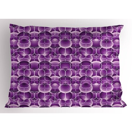 Retro Pillow Sham Vintage Trippy Pattern with Inner Circles and Squares Kitsch Ornamental Urban Style, Decorative Standard Size Printed Pillowcase, 26 X 20 Inches, Lilac Purple, by - Retro Squares Pattern