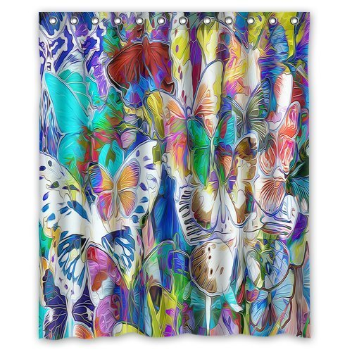 MOHome Painting Butterflies green art yellow blue white red purple colorful Shower Curtain Waterproof Polyester Fabric Shower Curtain Size 60x72 inches