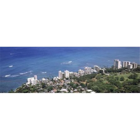 Panoramic Images PPI132050L Aerial view of a city at waterfront  Honolulu  Oahu  Honolulu County  Hawaii  USA 2010 Poster Print by Panoramic Images - 36 x 12 - Party City Oahu
