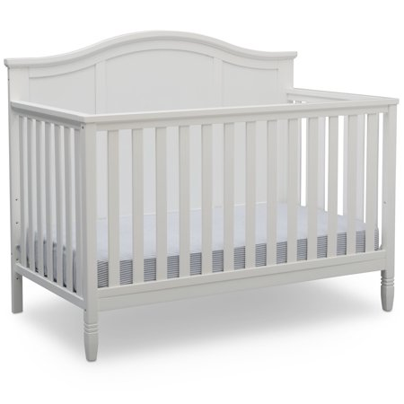 Delta Children Madrid 4-in-1 Convertible Baby Crib, Bianca White
