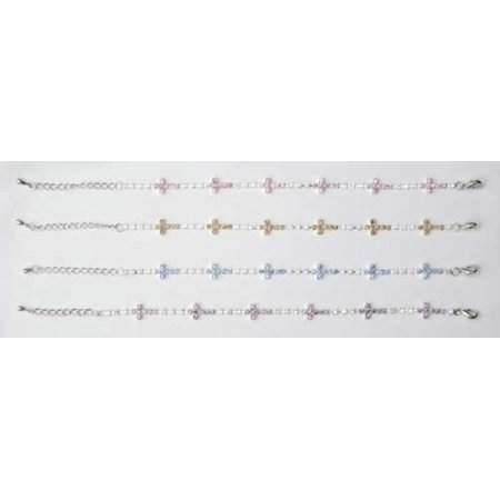 """Pack of 8 Adjustable Sparkle Religious Cross Bracelets 10"""" - image 1 of 1"""