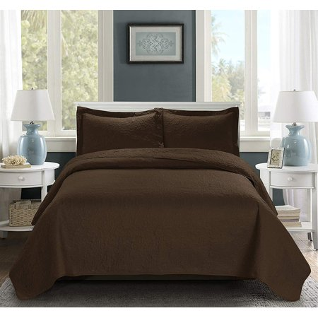 3 Piece Oversize Bedspread Chocolate Color -JULES blossom Ultrasonic Embossed Bedspread with Two Shams - Oversized Coverlet Queen 100x106 inches - Hypoallergenic,Fade Resistant,Wrinkle Resistant,Soft