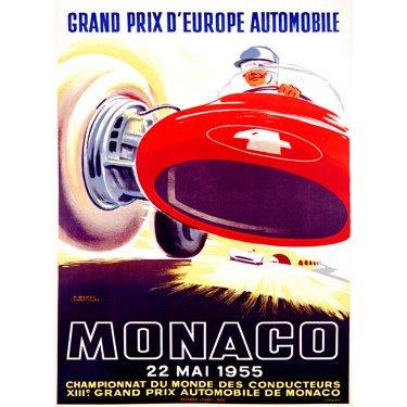 """1955 Monaco F1 Grand Prix by Artist J. Ramel 18""""x24"""" Planked Wood Sign Wall Decor Art"""