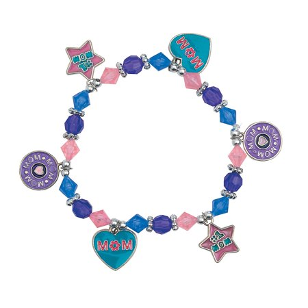 Fun Express - Mom Charm Bracelet Craft Kit for Mother's Day - Craft Kits - Kids Jewelry Craft Kits - Kids Bracelet - Mother's Day - 12 - Crafts For Mothers Day