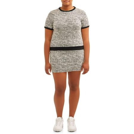 POOF Juniors' Plus Size Tweed Mini Skirt and Crewneck Top Set Shirts And Skirts