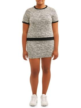 POOF Juniors' Plus Size Tweed Mini Skirt and Crewneck Top Set