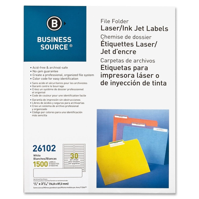 "Business Source Laser/Inkjet File Folder Labels - Permanent Adhesive - 0.66"" Width x 3.43"" Length - 30 / Sheet - Rectangle - Laser, Inkjet - White - Paper - 50 Sheet"
