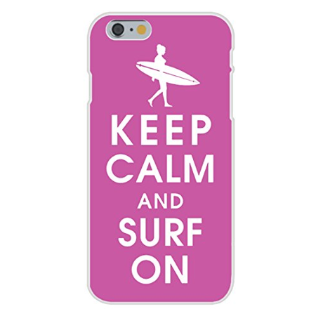 Apple iPhone 6+ (Plus) Custom Case White Plastic Snap On - Keep Calm and Surf On Girl on Pink