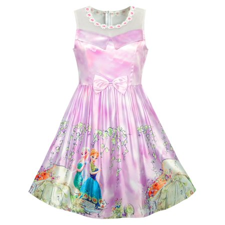 Girls Dress Elsa Anna Cartoon Lace Birthday Party Princess 5