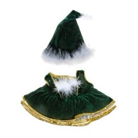 Velvet Christmas Gown Teddy Bear Clothes Fits 14 inch to 18 inch Build-a-bear and Make Your Own Stuffed Animals
