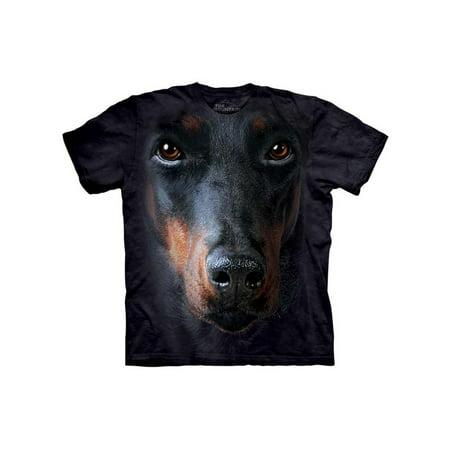 Black 100% Cotton Doberman Face Realistic Graphic T-Shirt