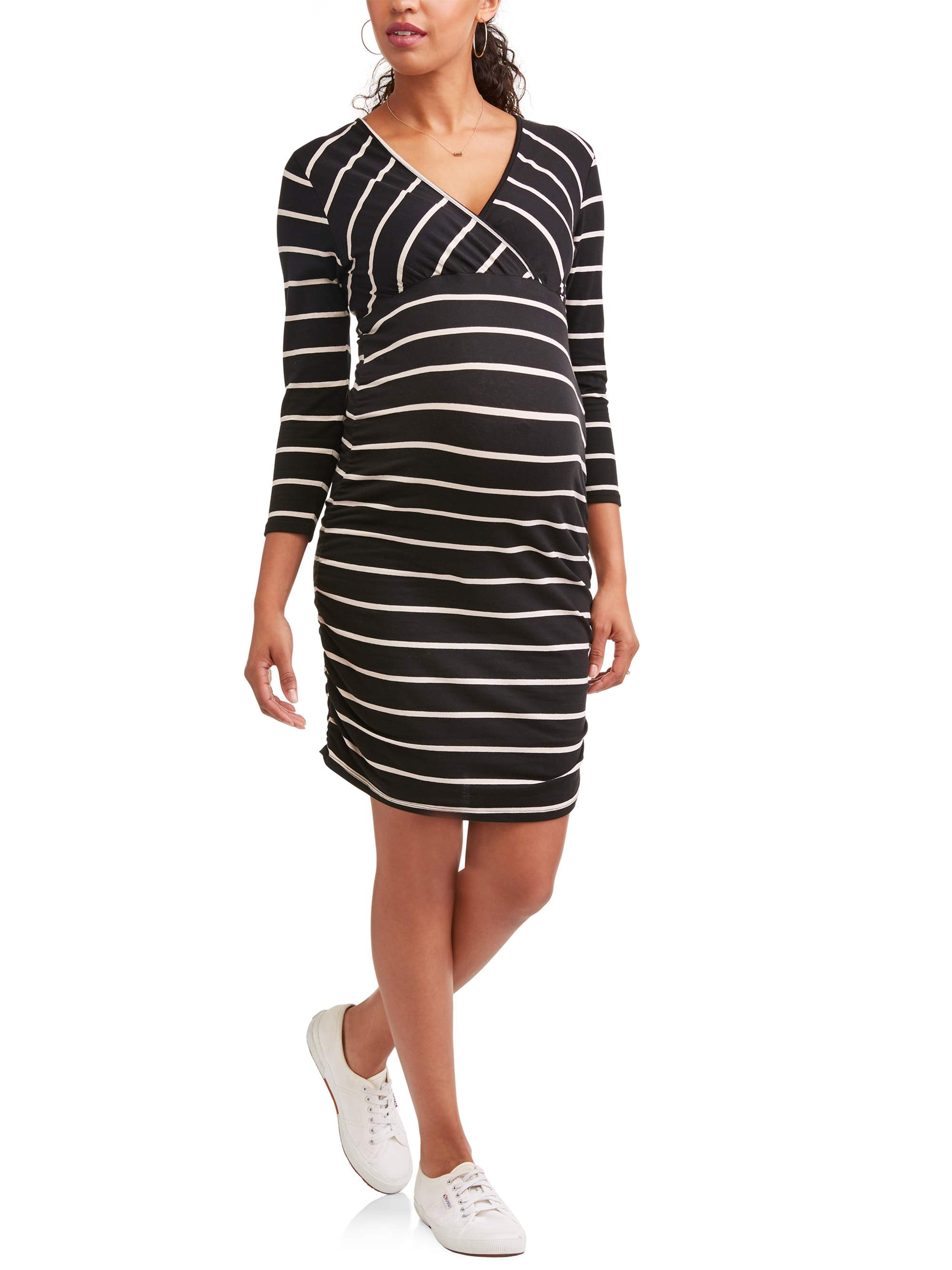 Maternity 3/4 Sleeve Surplice Dress with Belt - Available in Plus Sizes