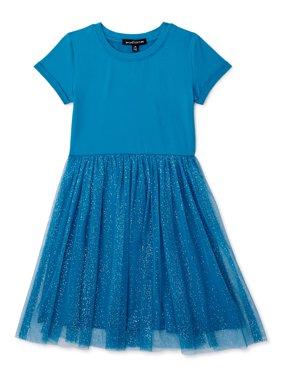 Social Edition Girls Yummy Foil Mesh Tulle Short Sleeve Dress, Sizes 4-16