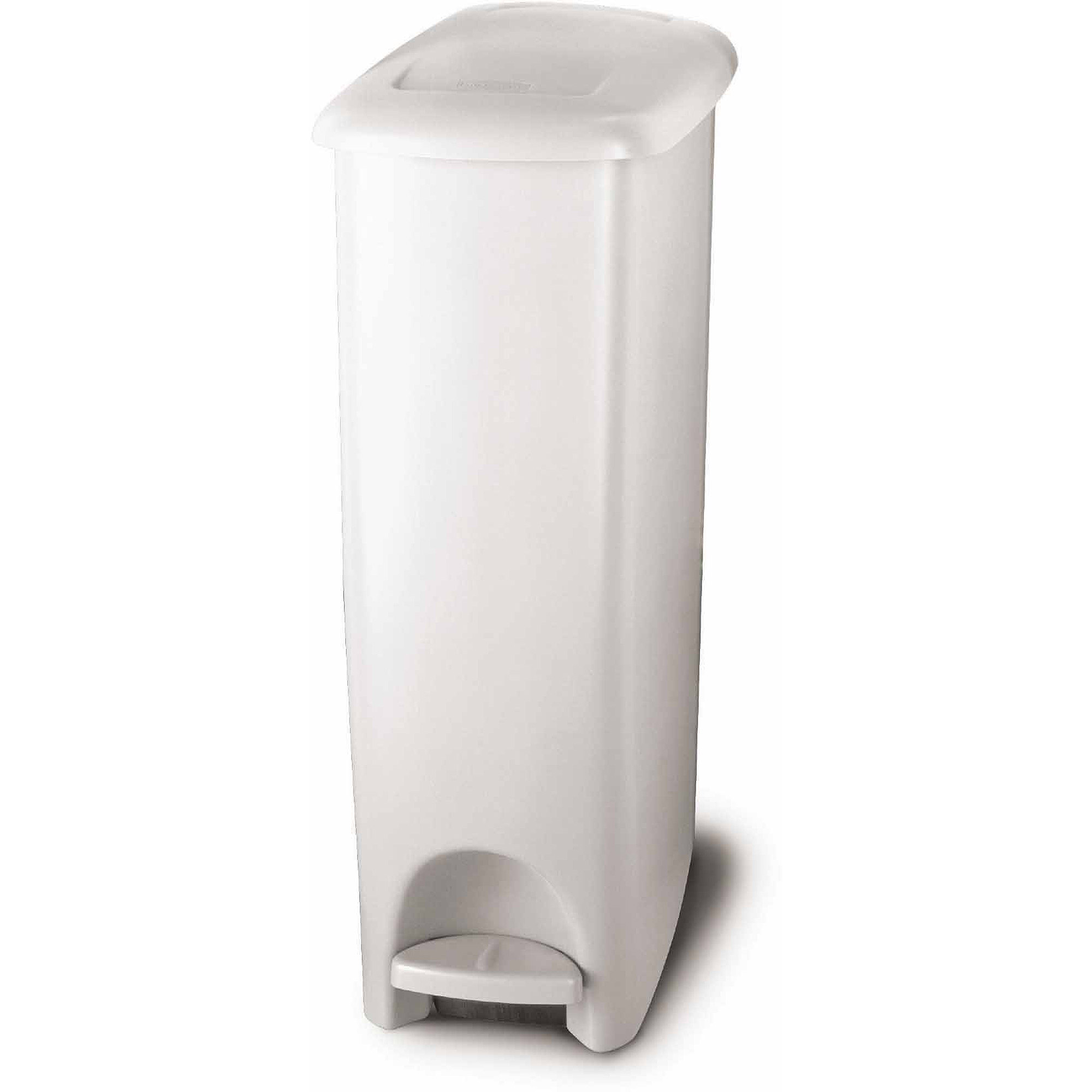 White Bathroom Garbage Cans rubbermaid step-on slim fit trash can, 11.25 gal, white - walmart