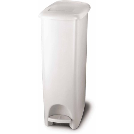 Rubbermaid Step On Slim Fit Trash Can  11 25 Gal  White