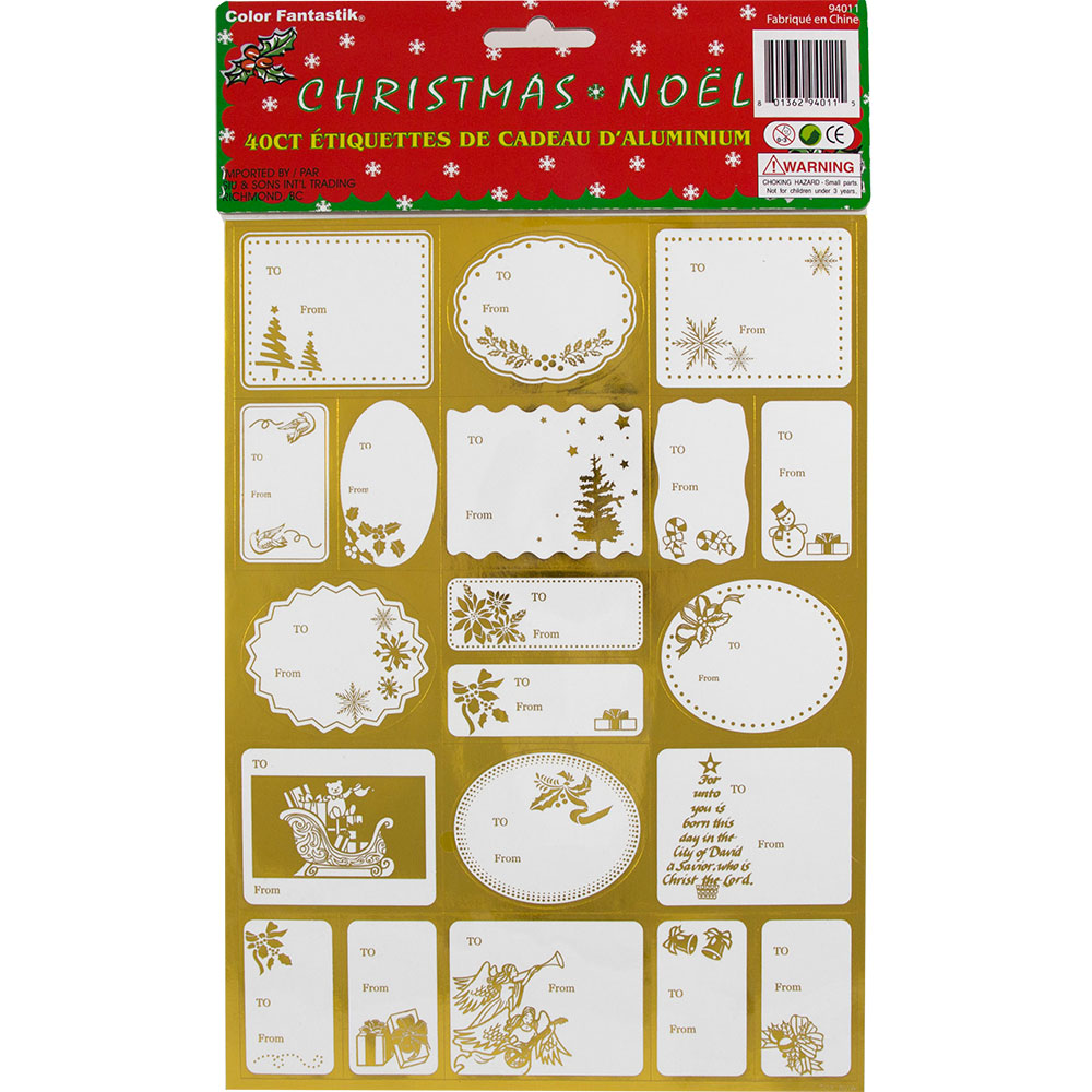 JAM Paper Foil Christmas Gift Tag Stickers, Gold, 40/pack