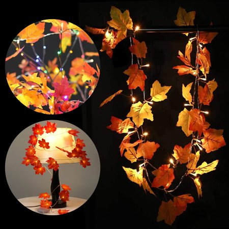 (2 Pack) EEEkit 3M 20LED Maple Leaves LED String Lights Desk Home Garden Wedding Outdoor Indoor Decoration, Powered by 3 AA battery, Warm - 2 Maple T-molding