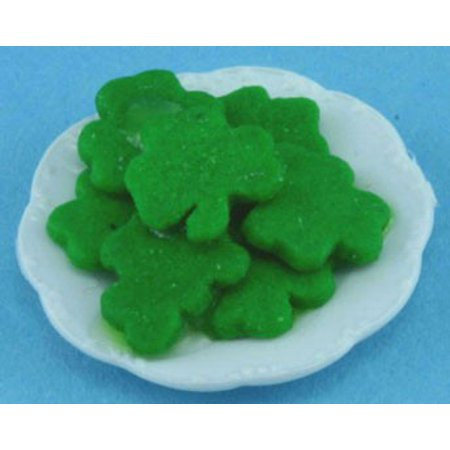 Dollhouse St. Patricks Cookies On Plate (Doll Plate)