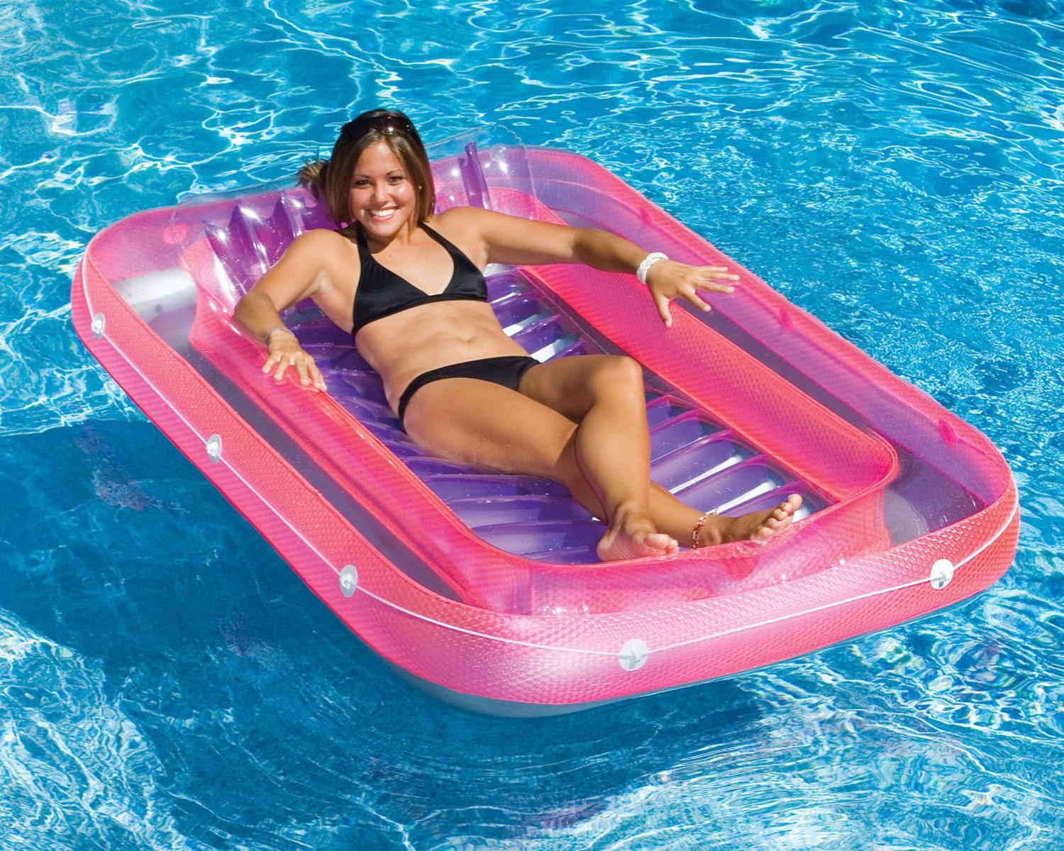 """71"""" Water Sports Transparent Pink, Purple and Gray Inflatable Suntan Tub Swimming Pool Raft Lounger by Swim Central"""