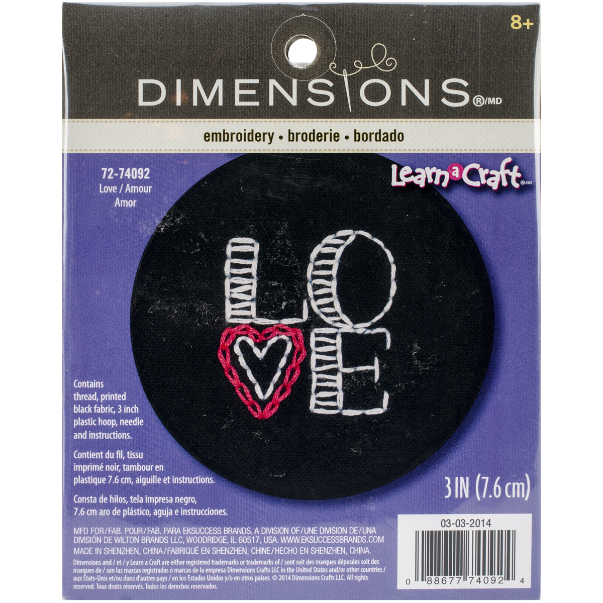 Dimensions Crafts 72-74092 Love on Black Embroidery Kit Multi-Colored
