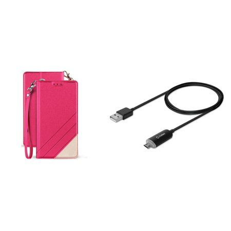BC Synthetic PU Leather Magnetic Flip Cover Wallet Case (Hot Pink) with LED Indicator and Velcro Strap Micro USB Cable (5 Feet) and Atom Cloth for Samsung Galaxy J7 2018 (J737)