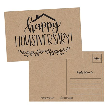 Name Personalized Note Card Stationery - 25 Kraft Happy Home Anniversary Realtor Cards, Blank Greeting House Postcards, Bulk Real Estate Thank You Notes, Welcome Home Realtor Gifts Stationery, New Realtor Gifts For Clients, Housiversary Card