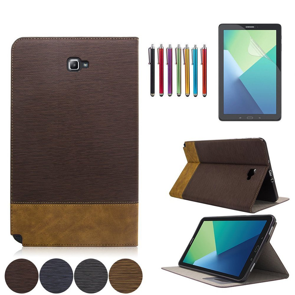 Mignova Samsung Galaxy Tab A 10.1 with S Pen Case - Slim Smart Stand Cover with Auto Sleep/Wake for Galaxy Tab A 10.1 inch Tablet with S Pen SM-P580+ Screen Protector Film and Stylus Pen (Dark Brown)