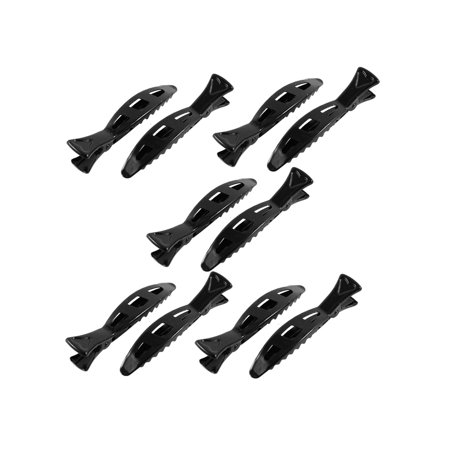 Unique Bargains Spring Loaded Single Fish Design Hair Clips Alligator Barrette 10 Pcs Black