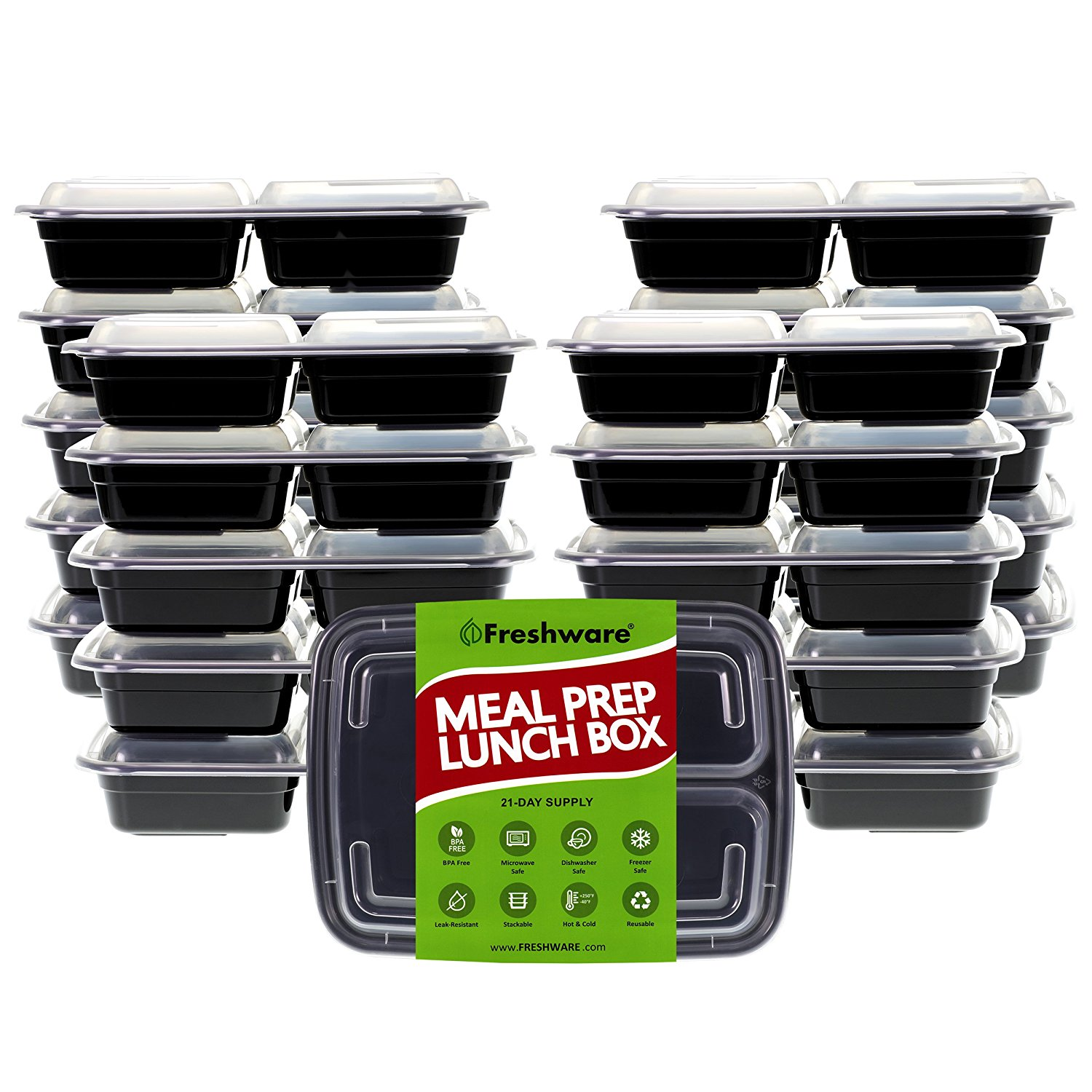 Freshware Meal Prep Containers [21 Pack] 3 Compartment with Lids, Food Storage Bento Box, BPA Free, Stackable, Lunch Boxes, Microwave/Dishwasher/Freezer Safe, Portion Control, 21 day fix (24 oz)
