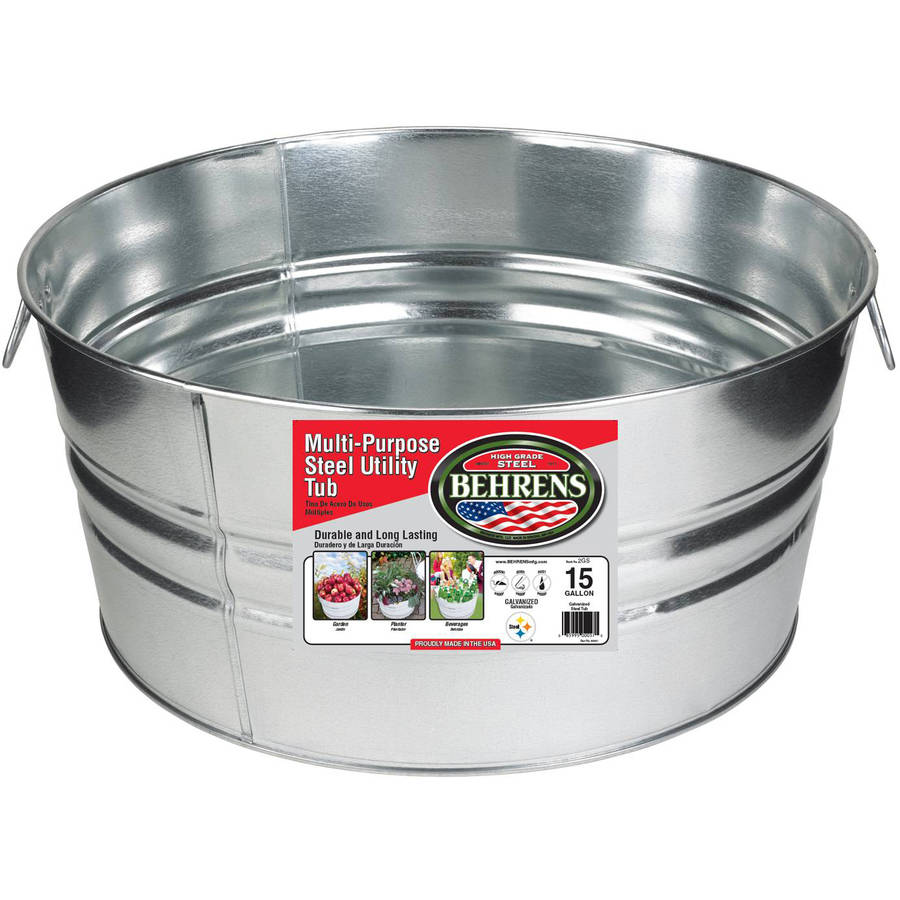 Behrens High Grade Steel 2GS 15 Gal Silver Galvanized Steel Round Tub