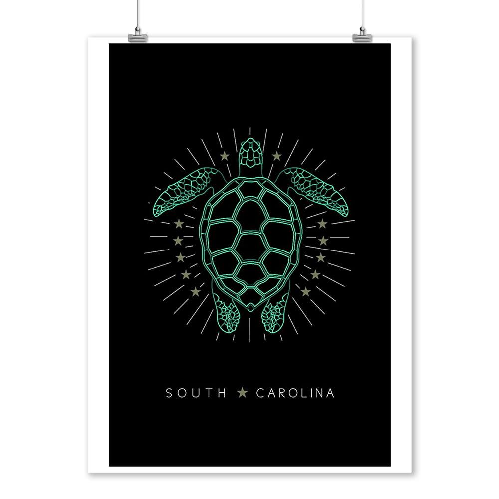 South Carolina - Neon Turtle - Lantern Press Artwork (9x12 Art Print, Wall Decor Travel Poster)