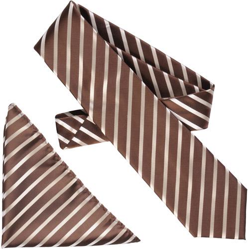 Daxx Men's Diagonal Stripe Microfiber Tie and Hanky Set