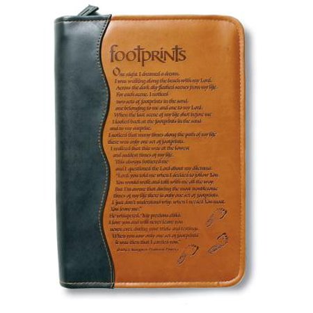 Italian Duo-Tone Footprints Med Book and Bible Cover
