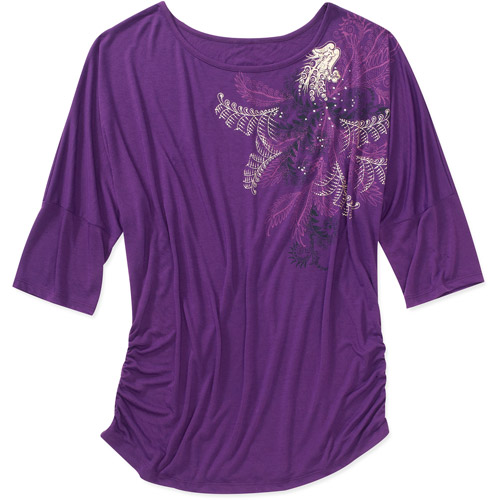 Faded Glory Women's Plus-Size Graphic Dolman Top with Side Shirring