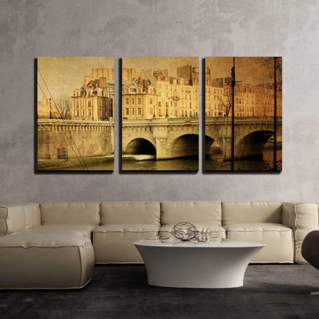 - wall26 - 3 Piece Canvas Wall Art - Beautiful Parisian Streets - with Space for Text or Image - Modern Home Decor Stretched and Framed Ready to Hang - 16