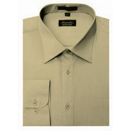 CL1022-15 1-2x34-35  Mens Wrinkle Free Tan Dress Shirt - Tan-15 1-2 x 34-35 - image 1 de 1
