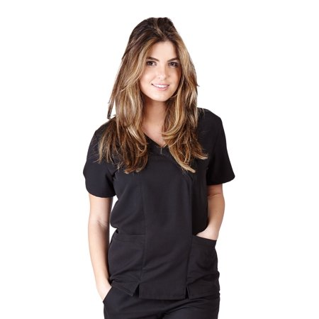 UltraSoft Premium 2 Pocket Cross Over Tunic Medical Scrub Top For Women - JUNIOR FIT Black / XX-Large