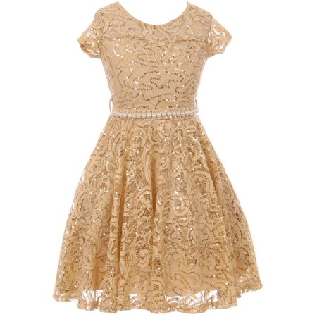 Big Girls Cap Sleeve Floral Lace Rhinestones Belt Asymmetrical Birthday Flower Girl Dress Gold 14 (2J1K0S2)](Gold Girl Dress)