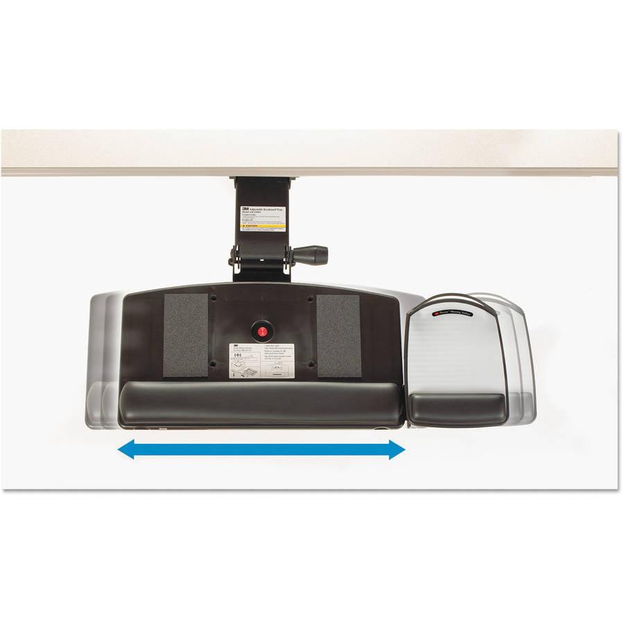 3m Knob Adjustable Keyboard Tray Black Mouse Desk Under