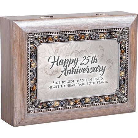 Cottage Garden JM329GB Happy 25th Anniversary Jeweled Pewter Colored Keepsake Music Box plays You Light Up My (Garden Keepsake)