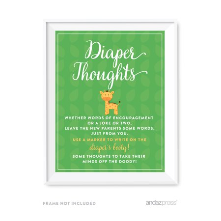 Diaper Thoughts Jungle Safari Baby Shower Games Diaper Thoughts Party Sign - Safari Babyshower
