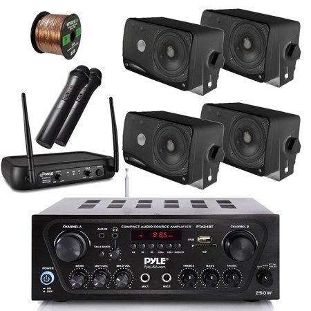 Pyle Wireless Bluetooth Stereo Receiver Amplifier, Dual Channel VHF Wireless Microphone System, 4X Pyle 3.5'' 200 Watt 3-Way Weather Proof Box Speakers - Black, 50Ft Speaker Wire - PA, Karaoke, DJ