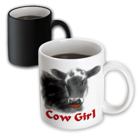3dRose Cow Girl, Magic Transforming Mug, 11oz - Cow Print Cups