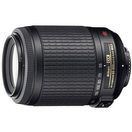 Nikon Nikkor 55-200mm Zoom Lens features VR Image Stabilization, f/4-5.6G, IF-ED, AF-S, DX