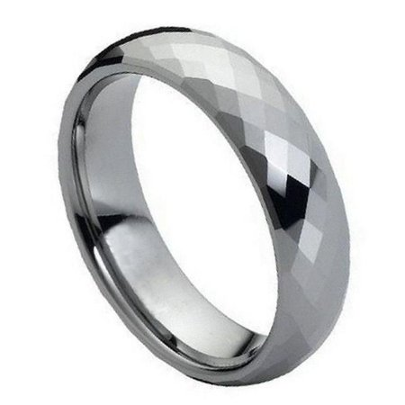 TK Rings 079TR-6mmx6.5 6 mm Faceted Domed Shaped Ring Tungsten Ring - Size (24x16x112mm Faceted Dome)
