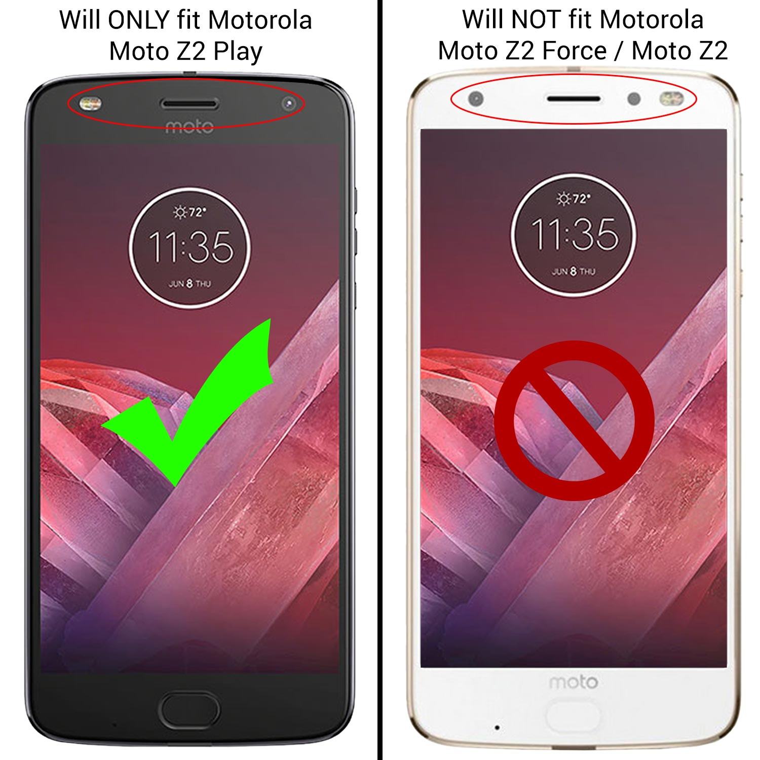 newest d10c4 75009 CoverON Motorola Moto Z2 Play Case, ClearGuard Series Clear Hard Phone Cover