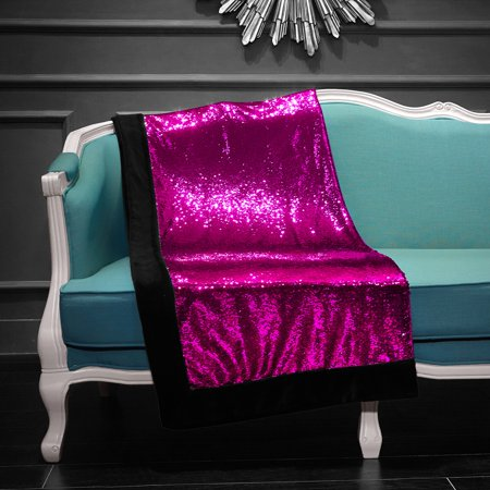 Reversible Sequin Sparkle Throw Blanket Pink Reverse To
