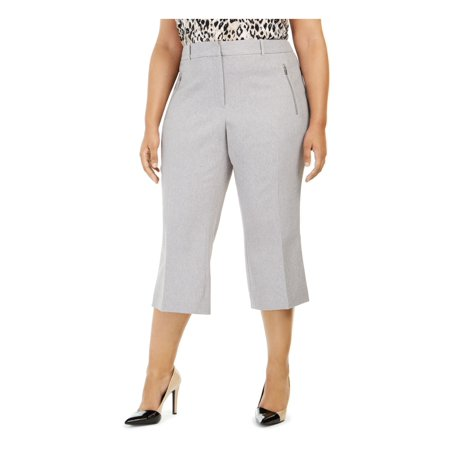 CALVIN KLEIN Womens Gray Herringbone Pants Size 20W